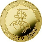 Lithuania 100 Litu Millennium of the mention of the name of Lithuania 2009 LMK Proof KM# 166 LIETUVA LMK 100 LITŲ 2009 coin obverse