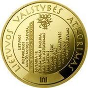 Lithuania 100 Litu Millennium of the mention of the name of Lithuania 2009 LMK Proof KM# 166 LIETUVOS VALSTYBĖS ATKŪRIMAS coin reverse
