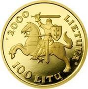 Lithuania 100 Litu Vytautas - Grand Duke of Lithuania 2000 Proof KM# 126 2000 LIETUVA 100 LITU LMK coin obverse