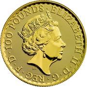 UK 100 Pounds 30th Anniversary of the Britannia 2017 30 Privy Mark 100 POUNDS ELIZABETH II D G REG F D J.C coin obverse