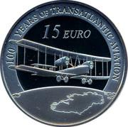 Ireland 15 euro 100 years transatlantic aviation 2019 100 YEARS OF TRANSATLANTIC AVIATION 15 EURO coin reverse