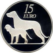 Ireland 15 Euro Irish Wolfhound 2012 Proof KM# 72 15 EURO coin reverse