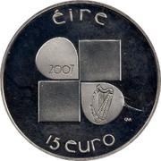Ireland 15 Euro Ivan Mestrovic 2007 Proof KM# 52 ÉIRE 2007 15 EURO DM coin obverse