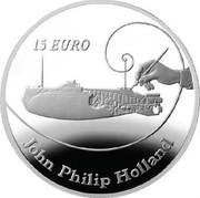 Ireland 15 Euro John Philip Holland 2014 Proof KM# 83 15 EURO JOHN PHILIP HOLLAND coin reverse