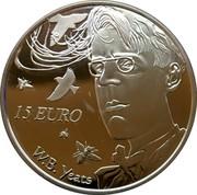 Ireland 15 Euro William Butler Yeats 2015 Proof KM# 86 15 EURO W. B. YEATS coin reverse
