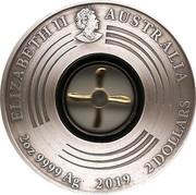 Australia 2 Dollars First Flight England to Australia 2019 P Antiqued ELIZABETH II AUSTRALIA 2OZ 9999 AG 2019 2 DOLLARS coin obverse