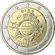 Ireland 2 Euro 10 Years of Euro Cash 2012 KM# 71 ÉIRE A.H. € 2002 2012 coin obverse