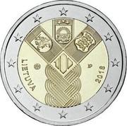 Lithuania 2 Euro 100th Anniversary of the Baltic States 2018 LMK KM# 235 LIETUVA JP 2018 coin obverse