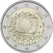 Lithuania 2 Euro (30 Years of EU Flag) LIETUVA 1985-2015 LMK coin obverse