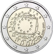 Ireland 2 Euro 30th Anniversary of the Flag of Europe 2015 KM# 84 ÉIRE 1985-2015 ΓΣ coin obverse