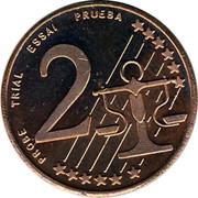Cyprus 2 Euro Cent Probe trial prueba 2004 UNC X# Pn2 PROBE TRIAL ESSAI PRUEBA 2 coin reverse