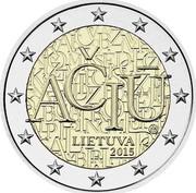 Lithuania 2 Euro Lithuanian Language 2015 KM# 213 AČIŪ LIETUVA 2015 coin obverse