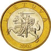 Lithuania 2 Litai 2002 KM# 112 Reform Coinage LIETUVA 1999 coin obverse
