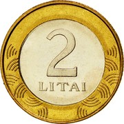 Lithuania 2 Litai 2002 KM# 112 Reform Coinage 2 LITAI coin reverse