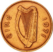Ireland 2 Pence Non magnetic 1971 KM# 21 ÉIRE 1985 coin obverse