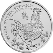 UK 2 Pounds Lunar Year of the Rooster 2017 BU YEAR OF ROOSTER ∙ 2007 1 OZ FINE SILVER 999 coin reverse