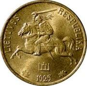 Lithuania 20 Centu 1925 KM# 74 Republic LIETUVAS RESPUBLIKA 1925 coin obverse