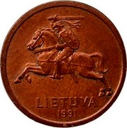 Lithuania 20 Centu 1991 KM# 89 Reform Coinage LIETUVA 1991 coin obverse