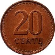 Lithuania 20 Centu 1991 KM# 89 Reform Coinage 20 CENTŲ coin reverse