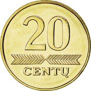 Lithuania 20 Centu 2009 Prooflike KM# 107 Reform Coinage 20 CENTŲ coin reverse