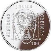 Lithuania 20 Euro Algirdas Julien Greimas 2017 LMK Proof KM# 233 ALGIRDAS JULIUS GREIMAS A B ne B ne A 100 coin reverse