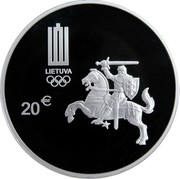 Lithuania 20 Euro Rio 2016 Olympic Games 2016 Proof KM# 224 LIETUVA 20 € coin obverse