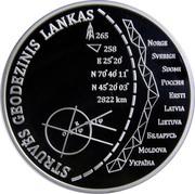 Lithuania 20 Euro Struve Geodetic Arc 2015 Proof KM# 217 STRUVĖS GEODEZINIS LANKAS NORGE SVERIGE SUOMI РОССИЯ ESSTI LATVIA LIETUVA БЕЛАРУСЬ MOLDOVA УКРAÏHA 265 E 25° 20' N 70° 40' 11'' N 45° 20' 03'' 2822KM coin reverse