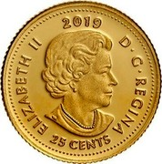 Canada 25 Cents Bouquet of Maple Leaves 2019 ELIZABETH II 2019 D • G • REGINA 25 CENTS coin obverse