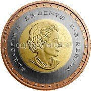 Canada 25 Cents (First Canadian in Space) ELIZABETH II 25 CENTS D G REGINA coin obverse