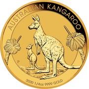 Australia 25 Dollars Australian Kangaroo 2020 AUSTRALIAN KANGAROO 2020 1/4 OZ 9999 GOLD coin reverse
