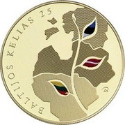 Lithuania 25 Litai Baltic Way 2014 LMK Prooflike BALTIJOS KELIAS 25 coin reverse