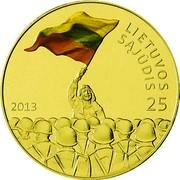 Lithuania 25 Litai Lithuanian Sajudis 2013 LMK Prooflike 2013 LIETUVOS SĄJŪDIS 25 coin reverse