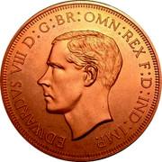 Cyprus 45 Piastres Edward VIII XM15b 1937 Proof EDWARDVS VIII D: G: BR: OMN: REX F: D: IND: IMP. coin obverse