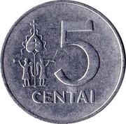 Lithuania 5 Centai 1991 KM# 87 Reform Coinage 5 CENTAI coin reverse
