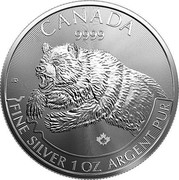Canada 5 Dollars Grizzly bear 2019 CANADA 9999 ED FINE SILVER 1 OZ ARGENT PUR coin reverse