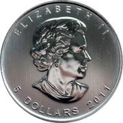 Canada 5 Dollars Grizzly bear (Gilted) 2011 ELIZABETH II SB 5 DOLLARS 2011 coin obverse