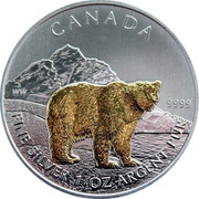 Canada 5 Dollars Grizzly bear (Gilted) 2011 CANADA WW 9999 FINE SILVER 1 OZ ARGENT PUR coin reverse
