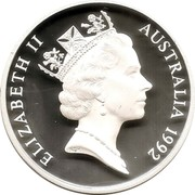 Australia 5 Dollars International Year of Space 1992 Cased Proof KM# 190a ELIZABETH II AUSTRALIA 1992 RDM coin obverse