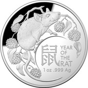 Australia 5 Dollars Lunar Year of the Rat 2020 Proof YEAR OF THE RAT 1 OZ .999 AG coin reverse