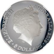 Australia 5 Dollars New Map of the World Domed 2019 Proof ELIZABETH II AUSTRALIA 2019 • 5 DOLLARS • IRB coin obverse