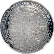 Australia 5 Dollars New Map of the World Domed 2019 Proof AMERICA DISCOVERED IN 1492 BY CHRISTOPHER COLUMBUS ENGLISH CIRCUMNAVIGATORS 1578 SIR FRANCIS DRAKE 1578 MR THOMAS CAVENDISH 1626 A NEW AND ACCVRATTE MAP OF THE WORLD COLUMBUS - DRAKE - CAVENDISH - MAGELLAN coin reverse