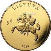 Lithuania 5 Euro 25 years of Independence 2015 LMK Prooflike LIETUVA 5€ 2015 coin obverse