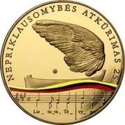 Lithuania 5 Euro 25 years of Independence 2015 LMK Prooflike NEPRIKLAUSOMYBĖS ATKŪRIMAS 25 LMK coin reverse