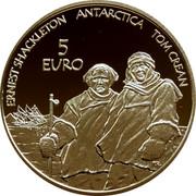 Ireland 5 Euro International Polar Year 2008 Proof KM# 56 ERNEST SHACKLETON ANTARCTICA TOM CREAN 5 EURO T.R. coin reverse