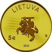 Lithuania 5 Euro Lithuanian science physics 2016 Proof KM# 222 LIETUVA 5 € 2016 coin obverse