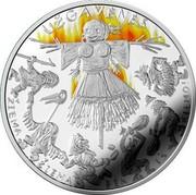 Lithuania 5 Euro Mardi Gras 2019 LMK Proof UŽGAVĖNĖS ŽIEMA ŽIEMA BĖK IŠ KIEMO! coin reverse
