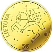 Lithuania 5 Euro Technological Sciences 2018 LMK Proof LIETUVA LMK 2018 5 € coin obverse