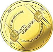 Lithuania 5 Euro Technological Sciences 2018 LMK Proof 180° 270° LIETUVA MYLI LAISVĘ... LITSAT-1 LITUANICA SAT-1 LINKĖJIMAI VISIEMS LIETUVIAMS... 90° 0° coin reverse