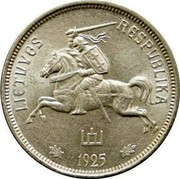 Lithuania 5 Litai 1925 KM# 78 Republic LIETUVOS RESPUBLIKA 1925 coin obverse