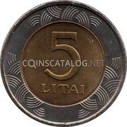 Lithuania 5 Litai 1999 KM# 113 Reform Coinage coin obverse